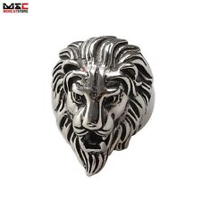 Men's Gothic Punk Lion Bike Ring 316L Stainless Steel Finger Bands US Size 7-11