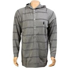 $89.99 Crooks and Castles Stripe Hooded Button Sweater grey