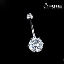 316L Surgical Steel Belly Button Navel Ring Bar Crystal Rhinestone Body Piercing