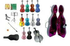 New Student Cello,Hard Case,Bag,Bow,Bridge+2 Sets Strings+2 Stands+Rosin+Tuner
