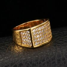 Iced Out Bling Gold Plated 18K Square LAB Diamond Hip Hop Size 7-11 Men's Ring