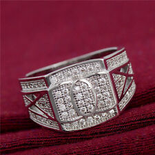 Square Silver Iced Out LAB Diamond Bling Steel Stainless Hip Hop 9-11 Men Ring