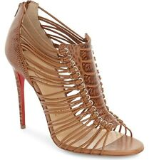 Christian Louboutin Women's Amal 100 Beige Ostrich Leather Sandals Shoes