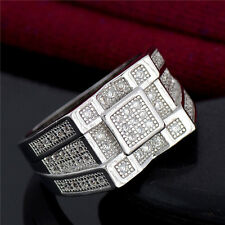 Square Iced Out Bling Hip Hop LAB Diamond Steel Stainless Silver 9-11 Men Ring