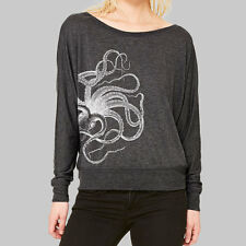 Womens Dolman Long Sleeve Top - Octopus scoop neck t shirt, plus size available