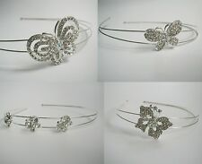 Clear Crystal/AB Crystal diamante butterfly hair band/Alice band/headband.Silver