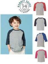Size 2 - 5/6 Rabbit Skins Toddler Fine Jersey 3/4 Sleeve Baseball T-Shirt 3330