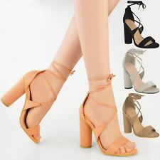 Womens Lace Tie Up Ankle Block High Heels Ladies Strappy Party Sandal Shoes Size
