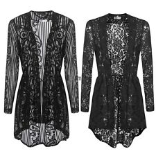 Women Long Sleeve Sheer Lace Crochet Open Front Cardigan Tops LM01