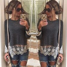 Fashion Women Casual Long Sleeve Round Neck Lace Patchwork T-shirt Tops EA901