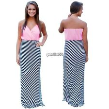 Sexy Women Strap Halter V-Neck Sleeveless Stripe High Waist Slim Maxi Dress EA9