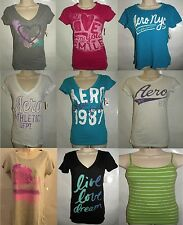 New Aeropostale Glitter Graphic T-Shirts Cami Appliques Logo Sequin Lace XS S