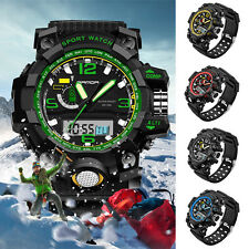 Men's LED Silicone Digital Analog Date Waterproof Sport Army Wrist Watch New