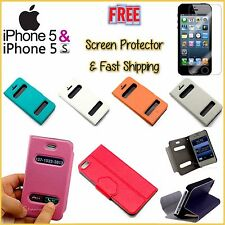 iPhone 5 5S Leather View Cover Folding Stand Case FREE Screen Protector Shipping