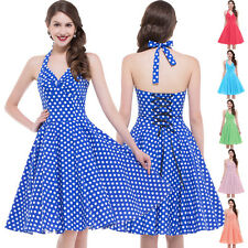 ^Polka Dot Swing 1950s Housewife pinup Vintage Cockail Retro Halter  Beach Dress
