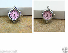 Fashion Beading Quartz Pink Watch Face Round or with Hearts, Craft Beading New