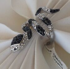 New!  Snake/Serpent Multi Pave BlacK & Clear Cubic Zirconia Ring 18KGE Plated