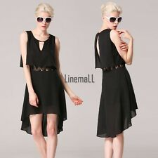 Angvns Women Fashion Sexy Chiffon Round Neck Sleeveless Backless Irregular LM02