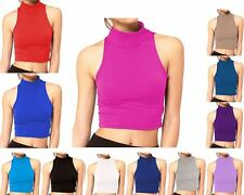 Womens Crop Top Ladies Polo Turtle Neck Sleeveless Tshirt Cropped 8 10 12 14 New
