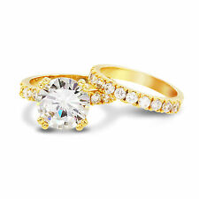 Gold Plated 5 Carat  Round Cut CZ Bridal Wedding Engagement Double Ring Set