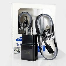 New In Box OEM Samsung Galaxy Black Fast Travel Home Charger 5' Micro USB Cable