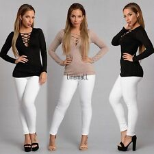 Women Fashion Sexy Hollow V Neck Long Sleeve Solid Slim T-Shits Top LM02