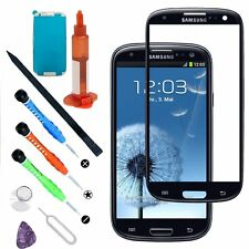 Front Outer Screen Glass Lens Replacement/Tools/Glue Black For Samsung Galaxy S3