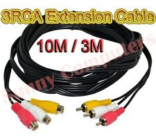 3RCA Audio Video AV A/V Composite Extension Cable DVD TV Adapter 10M 3M 1.5M AU