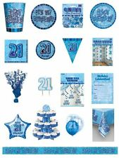21 / 21st Birthday Blue Glitz Party Range - Party/Plates/Napkins/Banners/Cups