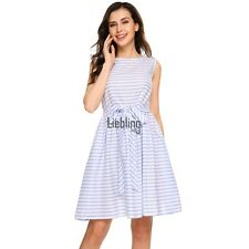 Women Retro Sleeveless Striped Belted Party Cocktail Swing Dress LEBB