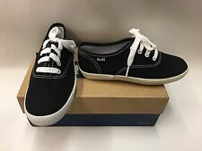 New Boxed Kids Keds Black & White Vans Style Canvas Lace Up Trainers Pick Size