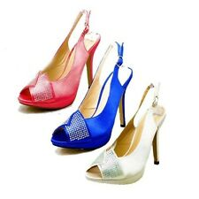 Ladies Satin crystal studded open toe sling back wedding shoes
