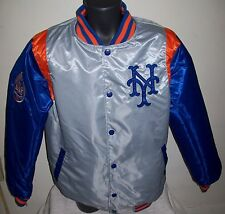 NEW YORK METS REVERSIBLE Satin Jacket M L XL 2X BLUE & SILVER