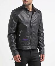 Men Accordion Stretch Shoulders Fashion Sheep 100% Real Leather jacket Waxed hot