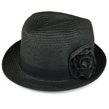 Women's Stingy Brim Paper Straw Braided Fedora with Flower Detail- FREE SHIPPING