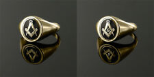 9ct Yellow gold Square and compass Reversible Masonic ring- Black