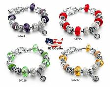 European Charm Bracelet Tibetan Silver Plated Heart Charms and Crystals