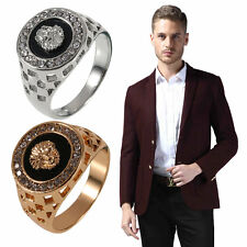 New Unique Design Crystal Gem Men's 18k Gold Plated Fashion Jewelry Ring ZM