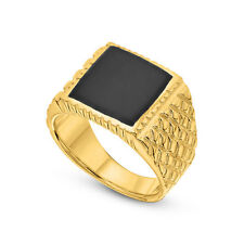 14K Gold Plated Crisscross Ring Signet Square Onyx Gold Size