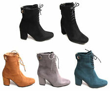 Womens Ladies Ankle Boots Back Buckle Shoes Block Mid Heels Lace Up Suede Biker