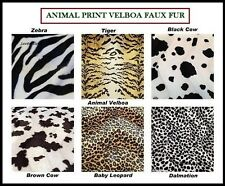 ANIMAL PRINT  VELBOA FAUX FUR VELOUR FABRIC (Leopard,Cow,Tiger,Zebra) Free P&P
