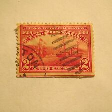 """1~VTG 2 Cents U.S. Postage Stamp """""""" #372 """"HALF MOON & CLERMONT SHIP"""" 1909 ~ Used"""