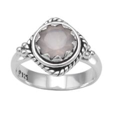 Rose Dyed Quartz Solitaire Ring Rope and Bead Setting Antiqued Sterling Silver