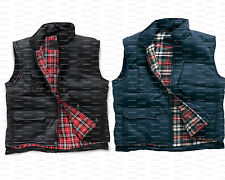 NEW MENS WORKWEAR FLANNEL PADDED CHECK LINED GILET GILLET COAT JACKET BODYWARMER