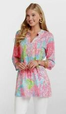 NEW Lilly Pulitzer Sarasota Beaded Tunic Blouse Turquoise Lets Cha Cha Pink S