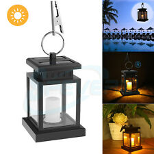 Outdoor Solar Powered LED Candle Light Hanging Lantern Garden Coach Camping Lamp