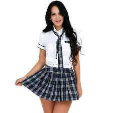 Sexy School Girl Student Lingerie Outfit Cosplay Uniform Fancy Dress Costume+Tie
