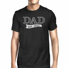 Dad Est 2017 Mens Black Funny Graphic T-Shirt Unique Gifts For Dad