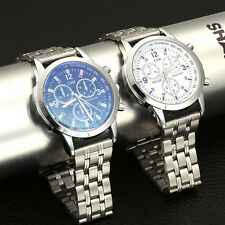 Fashion Stainless Steel Band Date Analog Quartz Sport Business Mens Wrist Watch