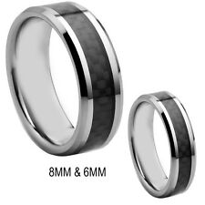 Black Print Overlay 8MM And Her's 6MM Tungsten Ring Band Set -FREE ENGRAVING